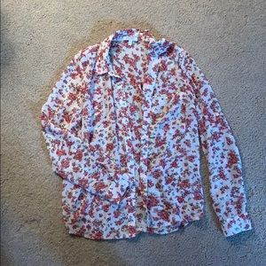 Sheer Floral Button Down Blouse